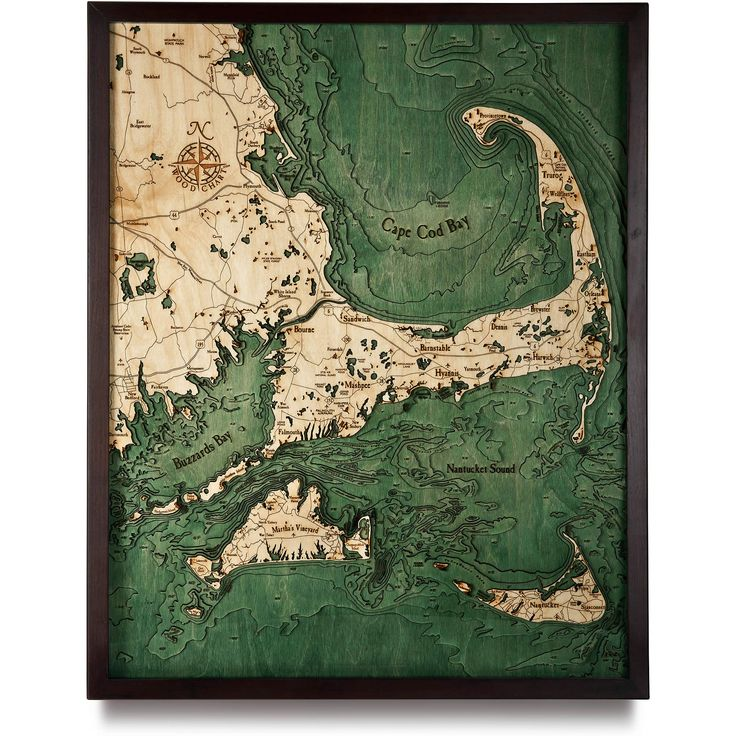 Nautical Wood Maps are topographic bathymetric wooden