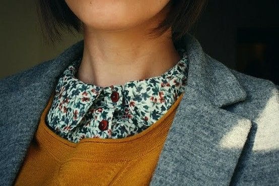 floral collared shirt with mustard cardigan, grey blazer