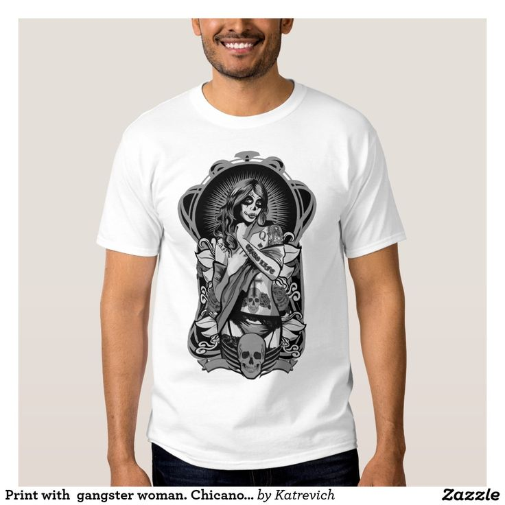 Print with  gangster woman. Chicano tattoo style.