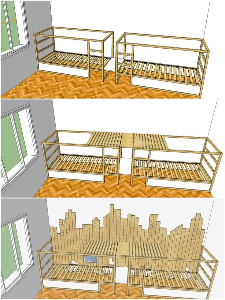 Ikea Hack: Kura triple bunk bed.  Could adapt to make a triple bunk from many plans.