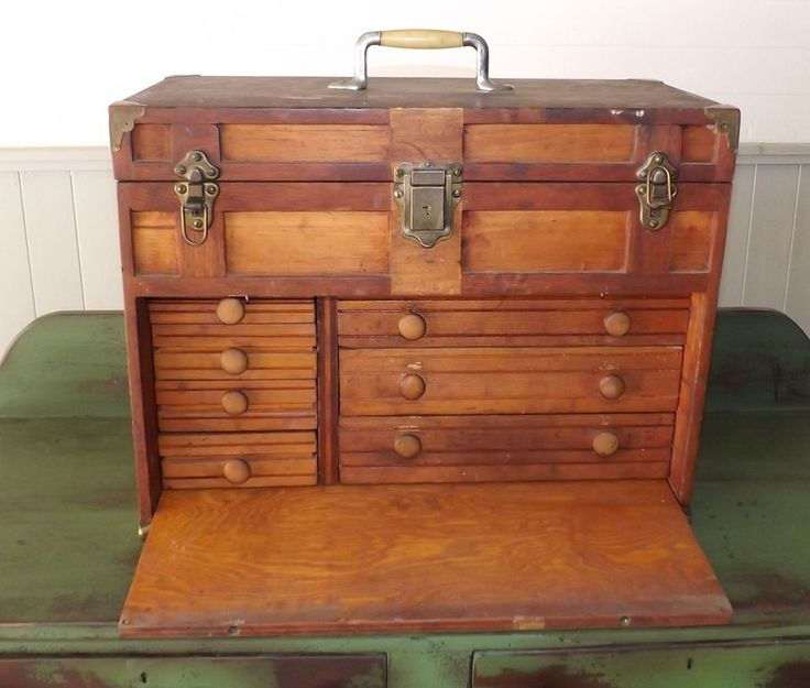 Antique Wooden 7-Drawer Machinist Tool Chest Box w/ Cover