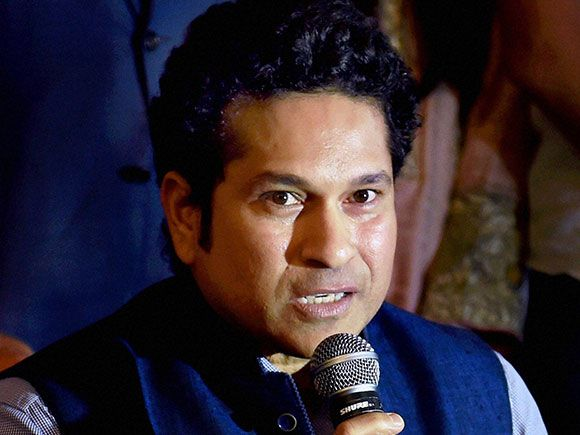 Sachin Tendulkar interacts with media during a felecitation ceremony of the paralympic medal winners
