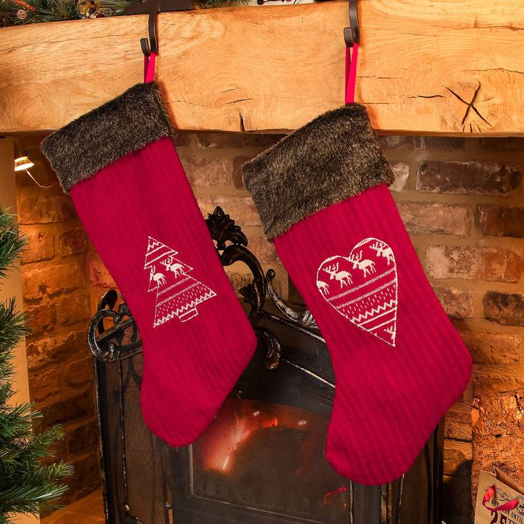 Set Of Two His And Hers Red Nordic Christmas Stockings