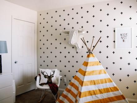 A washi tape wall can be as colorful or as subdued as you like. Emily from Everything Emily created this stunning accent wall with just two rolls of black washi tape. The best part? She completed the project for less than $10.