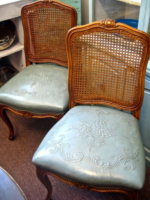 Gorgeous, vintage, french blue embossed leather and cane side chairs at The Pickled Hutch