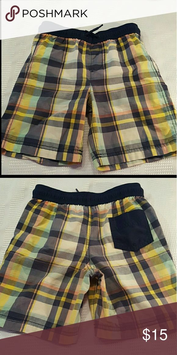 SALE🔴BOYS 🐋 Lands End Swim Trunks as 5/6 Navy and yellow plaid elastic waist swim trunks with drawstring.  Sz 5/6.  EUC. Worn a few times. Smoke free, pet free home. Lands' End Swim Swim Trunks
