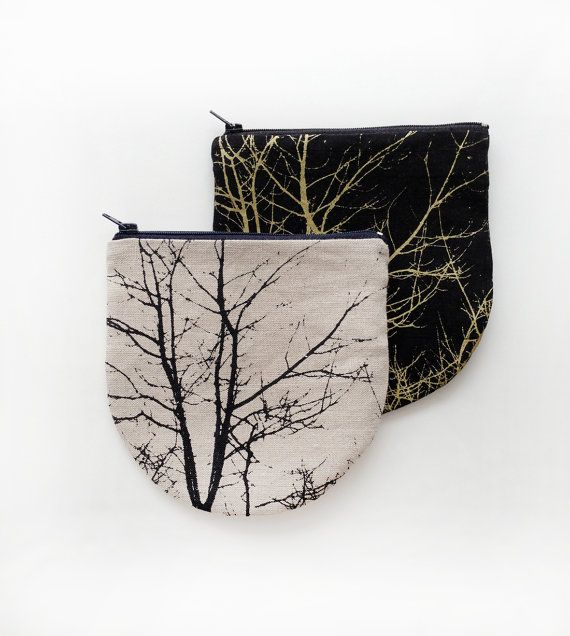 Small Linen Bag, cosmetic pouch, tree silkscreen print, gold on black