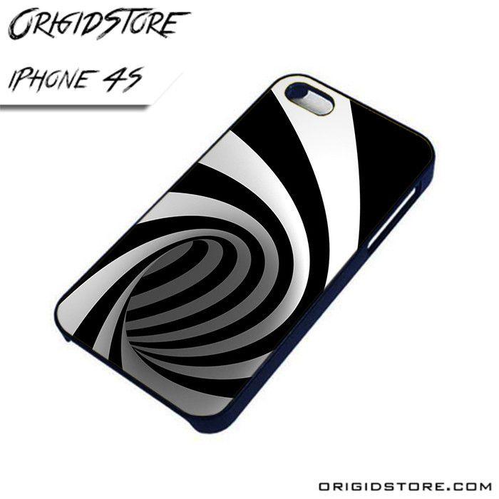 Black and White Stripes Swirl Wide AL iPhone 4/4S case