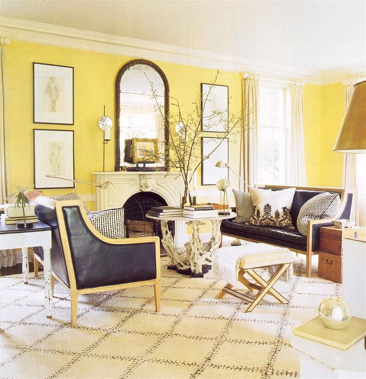 black and yellow living room - Yellow Living Room Decor