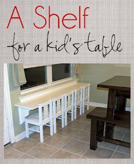 She took a wall shelf and hung it low to make a kid's table - playroom?