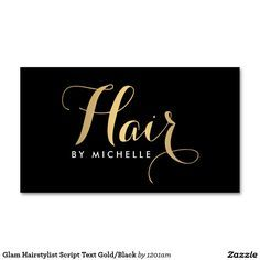 Glam Hair Calligraphy Script in Gold Business Card Template for Hairstylists and Hair Salons - Ready to personalize and make it yours!