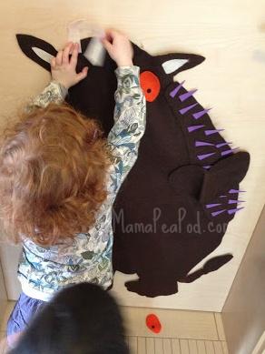 "Mama Pea Pod plays pin the parts on the Gruffalo with this large, felt Gruffalo ("",)"