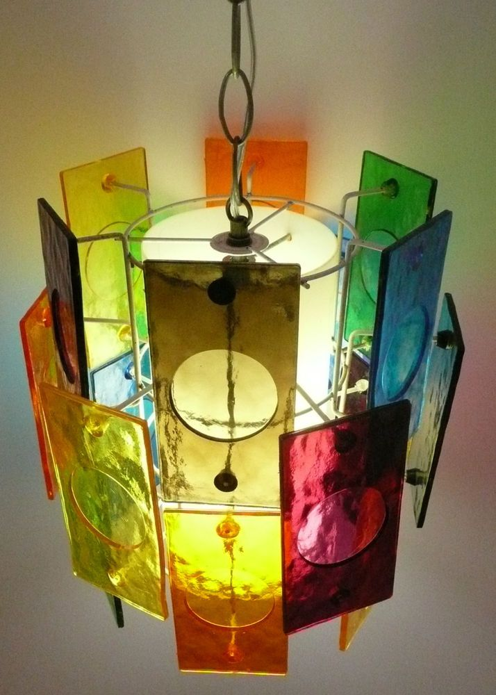 Lucite 18 Panel Multicolor Swag Light Cubism Retro Midcentury Modern Shelly S Corner At Film Record Graveyard Pinterest Mid