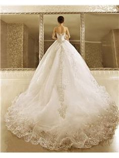 Cute Luxurious Ball Gown Strapless Cathedral Train Wedding Dress