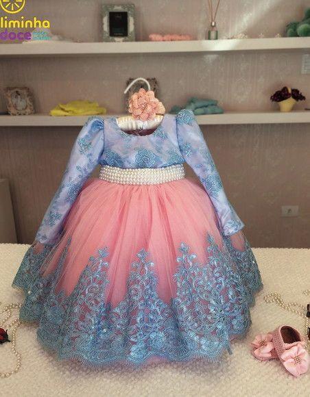 f5fe7bc15 Compre Vestido Rosa com renda Azul bebe - infantil no Elo7 por R$ 442,