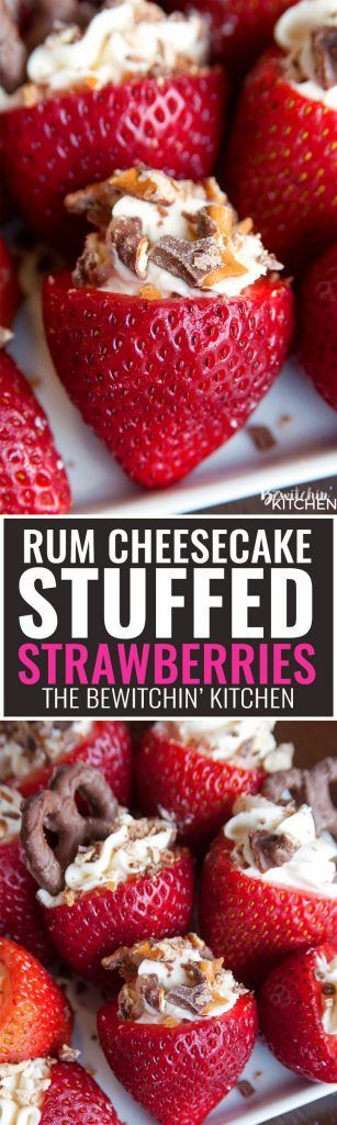 Rum Cheesecake Stuffed Strawberries. This easy, no bake dessert recipe is a party favorite. Cream cheese, sugar and rum extract, topped with crunchy milk chocolate covered pretzels makes this bite sized treat sweet, salty and crunchy. Add this to your pop