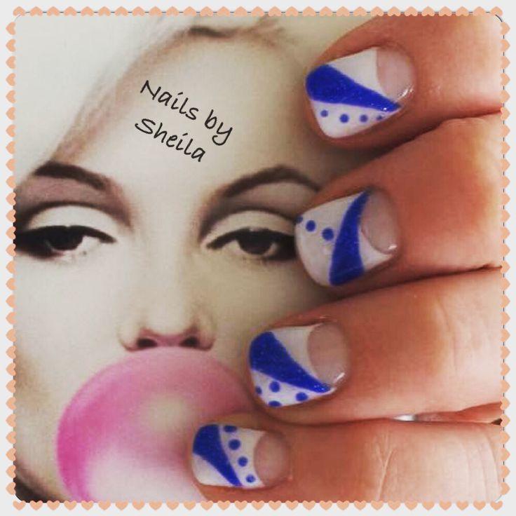 Nails#blue#white#