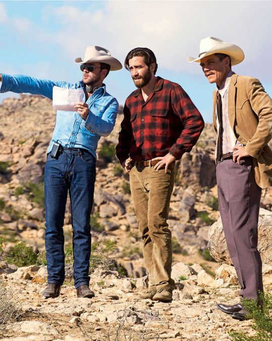 Tom Ford, Jake Gyllenhaal, and Michael Shannon on the set of Nocturnal Animals.