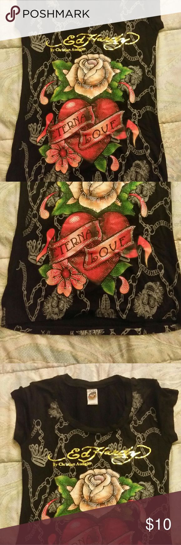 """Ed Hardy tshirt Ed Hardy tshirt by Christian Audigier. Worn maybe 2x. Rose and heart on front with """"Eternal Love"""" written in heart. Rhinestones over front flowers/rose design. Ed Hardy Tops Tees - Short Sleeve"""