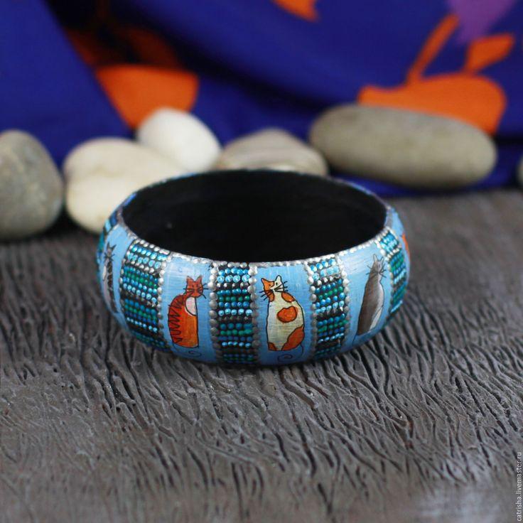 Купить Деревянный браслет Котики, весна бохо голубой браслет с росписью, коты