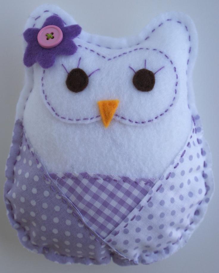 Purple Patterned Stuffed FELT OWL Room Nursery Decor