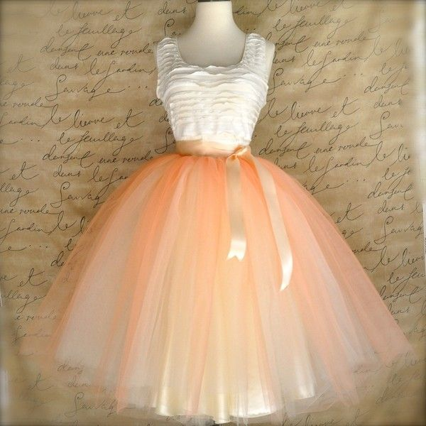 Women's tulle skirt in peach and cream. Spring pastels. Peach over ivory lined tea length tutu skirt. found on Polyvore