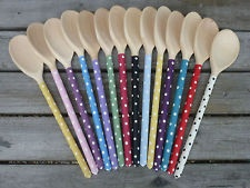 Hand painted Shabby Chic Spotty Polka Dot Wooden Spoon - 6 Colours Available