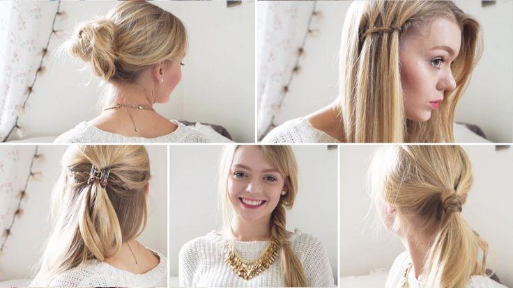 FÜNF 5-MINUTEN-FRISUREN | einfache Frisuren für Schule, Uni, Arbeit, All..( 5 hairstyles)easy .