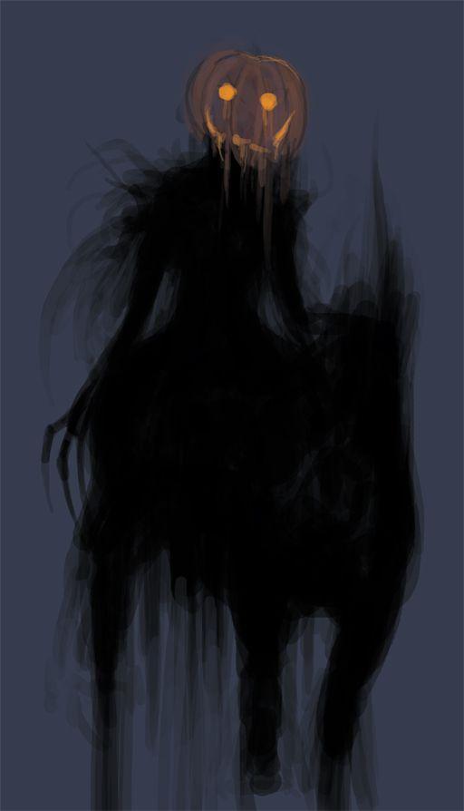 Headless Horseman wearing a pumpkin head
