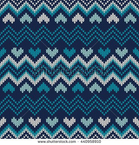 Fair Isle Style Knitted Sweater Design. Seamless Knitting Pattern. Vector Knitted Texture