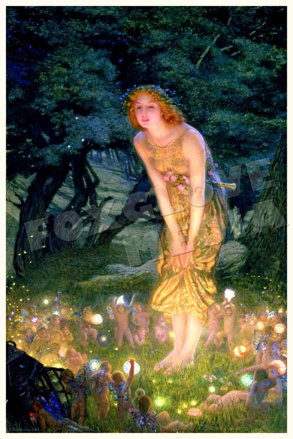Fairy painting Midsummer Eve by Edward Robert Hughes circa 1908 - perfect for nursery or childrens room.  ABOUT YOUR PRINT … Large format posters are printed on fine art paper thats acid free, 10mil+ matte finish using archival inks. Postcard sizes (e.g. 4x6, 5x7) are printed on heavy weight matte finish postcard stock, using the same inks and process as the large format prints.  SIZES AND SPECIAL REQUESTS ... Im happy to print in just about any relatively proportional size you wish without…
