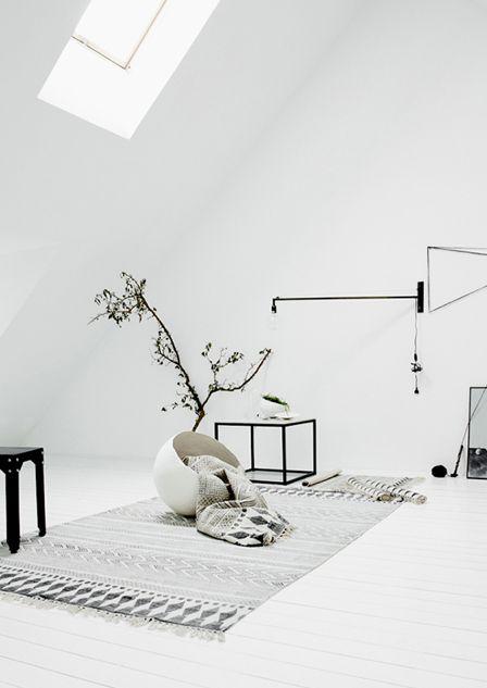 Tapis noir et blanc en coton maison aimable