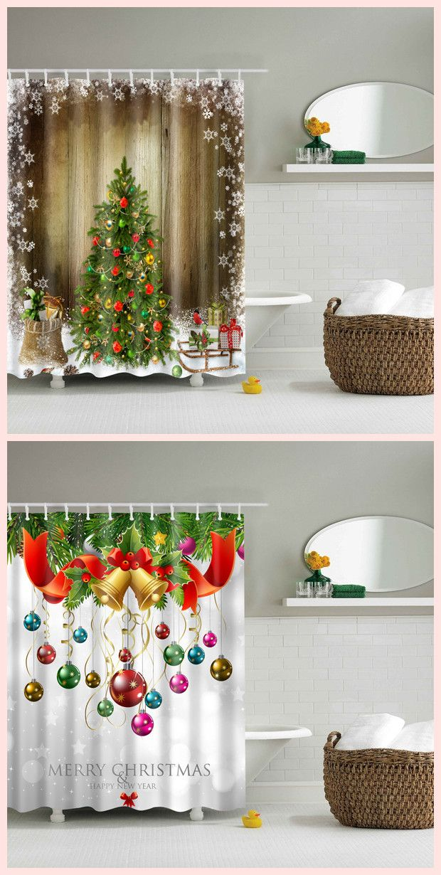 Bathroom Waterproof Merry Christmas Printed Shower Curtain