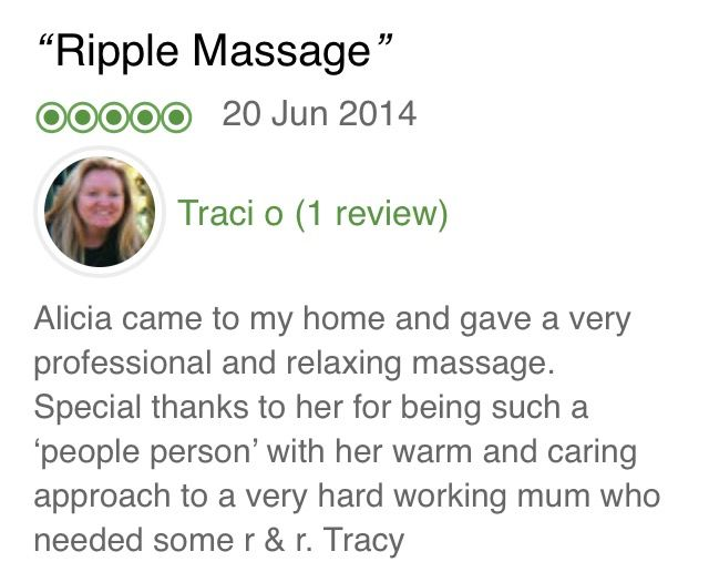 Thanks Tracey, we pride ourselves on our A+ service!  SYDNEY MASSAGE https://www.ripplemassage.com.au/locations/sydney-massage-day-spa-mobile-north-shore-northern-beaches-cbd-inner-west-western-suburbs-eastern-sutherland-hills/ #CentenniaPark #MoorePark #Rosebery #Alexandria #Beaconsfield #Waterloo #Zetland #Darlinghurst #Glebe #Newtown #TheRocks #MillersPoint