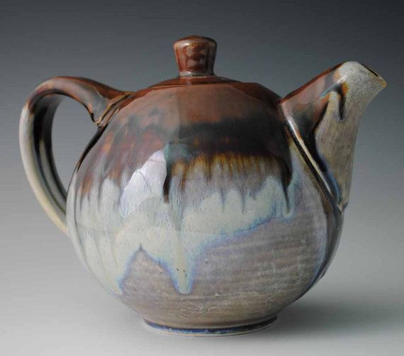 Glazed Round Ceramic Teapot, Brown and White with Blue Tones