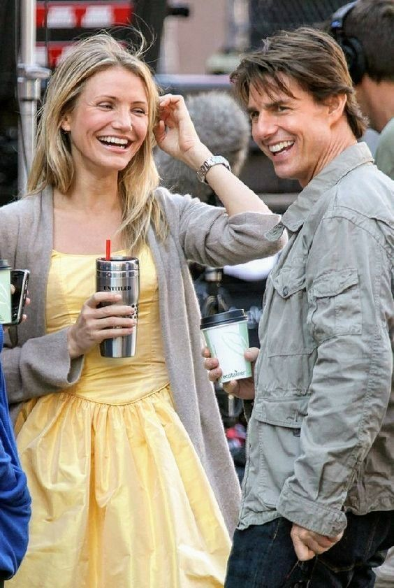 Cameron Diaz and Tom Cruise behind the scenes of 'Knight & Day' (2010)