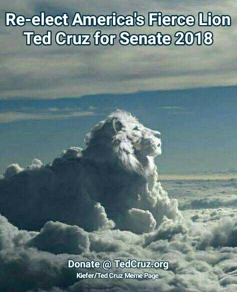 Lion Ted! Help Keep Ted Cruz In The Senate. @TedCruz.Org #keepTedCruz4Senator #TedCruz2018