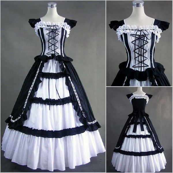 Freeship Victorian Lolit Gothic/Civil War Southen Belle Ball Gown... ❤ liked on Polyvore featuring costumes, dresses, victorian, cosplay costumes, victorian gothic costumes, southern belle costume, victorian halloween costumes and belle costume