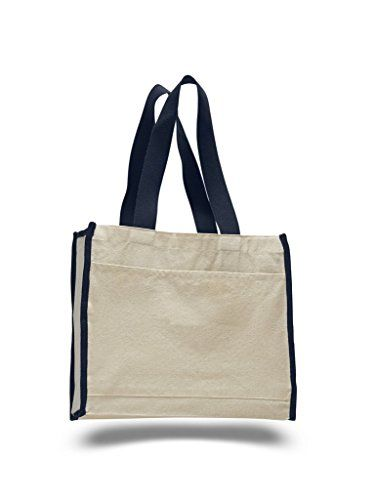 Reusable Bags Wholesale. Heavy Canvas Reusable Tote Bags with Front Pocket, Side and Bottom Gussets, Fancy Looking Plain Tote Bags, 100% Natural Canvas Strong Wholesale Tote Bags by BagzDepot (12, Navy).  #reusable #bags #wholesale #reusablebags #bagswholesale