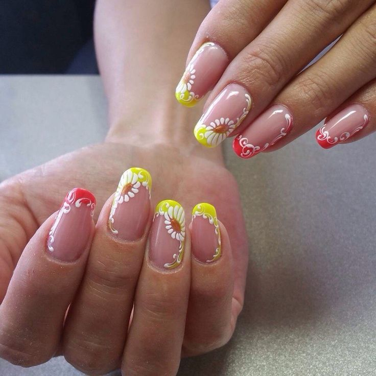 Color french manicure, Colorful nails 2017, Daisy french nails, Daisy nails…