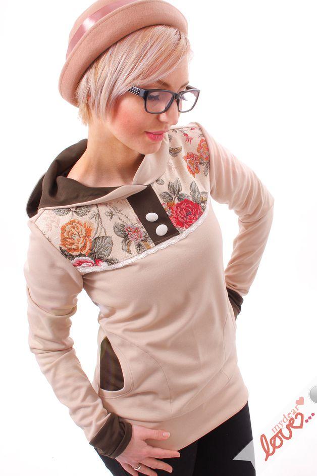 Kuscheliger Hoodie mit eingefassten Blumenstoff / comfy hoodie, floral and beige fabrics by mydearlove via DaWanda.com