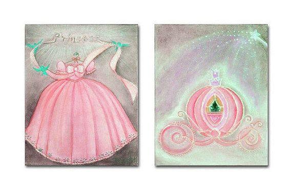 Baby Girl Nursery Art Princess Pink Dress & Carriage SET OF 2