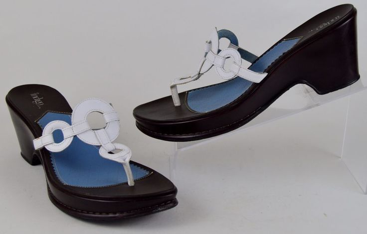 Clarks Indigo Shoes Women's Sz 10 M White Leather Wedge Sandals #Clarks #Wedge #Casual