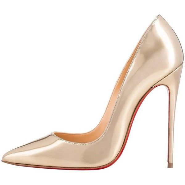 Preowned Christian Louboutin New Gold Patent Leather So Kate Evening... (4,125 ILS) ❤ liked on Polyvore featuring shoes, pumps, gold, heels, heel pump, high heeled footwear, patent leather pumps, patent pumps and gold evening shoes