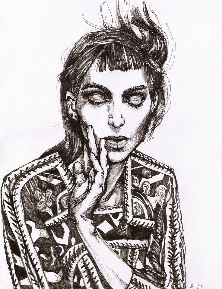 Rooney Mara. Portrait by Linda Förstner. Ballpoint pen, A3