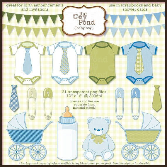 INSTANT DOWNLOAD Baby Boy Clip Art  clipart blue by TheCoyPond