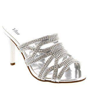 Femmes Partie Low Mi Talons Bal De Promo Chaussures Stylets Cristaux – Argent – 38
