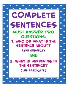 Complete vs. Incomplete Sentence Sort and Poster