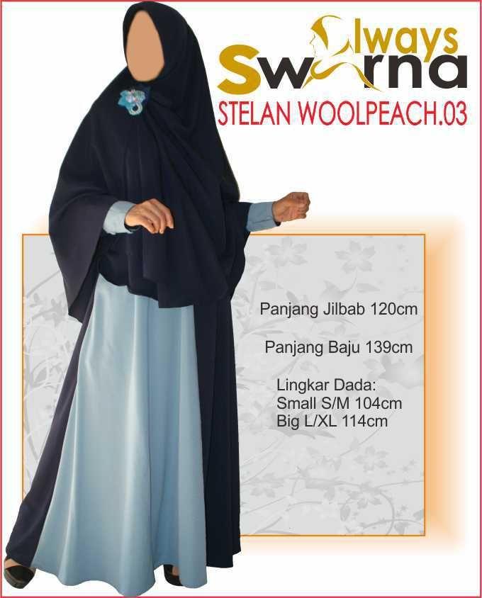 Baju Gamis Wanita Syar'i – Model Busana Muslim- Always Swarna stelan woolpeach.03 – dongker biru
