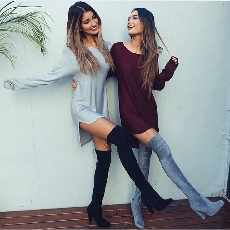 Twinning left or right?? Long Boyfriend Baggy Top  Knee High Suede Boots by vogue__outfits__